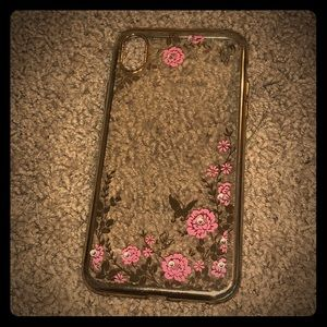 iPhone XR Floral Sequined Case Gold Trim